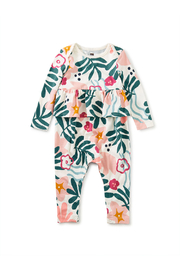 Tea Collection Peplum Baby Romper - Galapagos Vacation - Front cropped