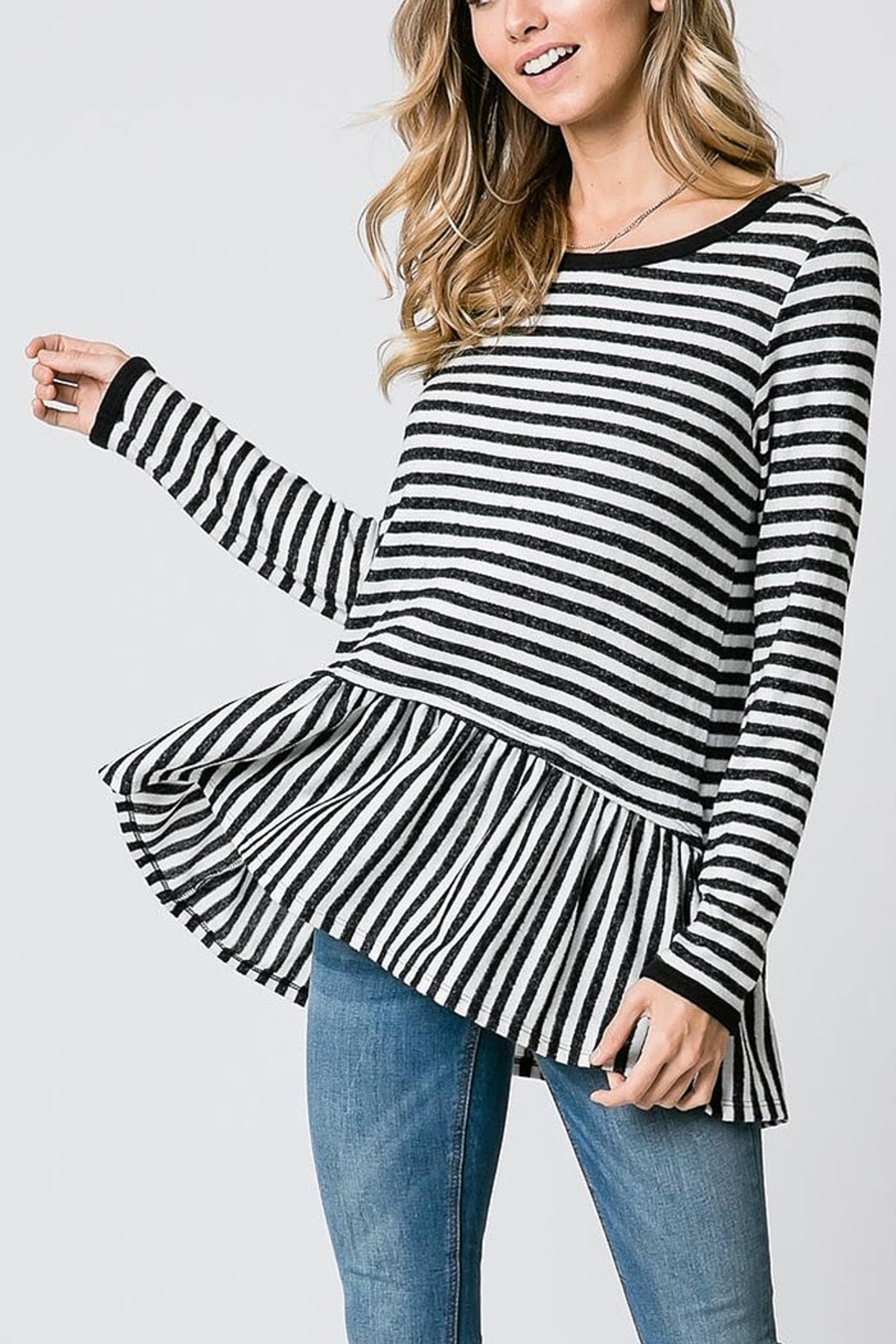Lyn-Maree's  Peplum Long Sleeve Top - Front Cropped Image