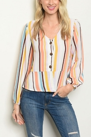 Lyn -Maree's Peplum Stripe Top - Front cropped