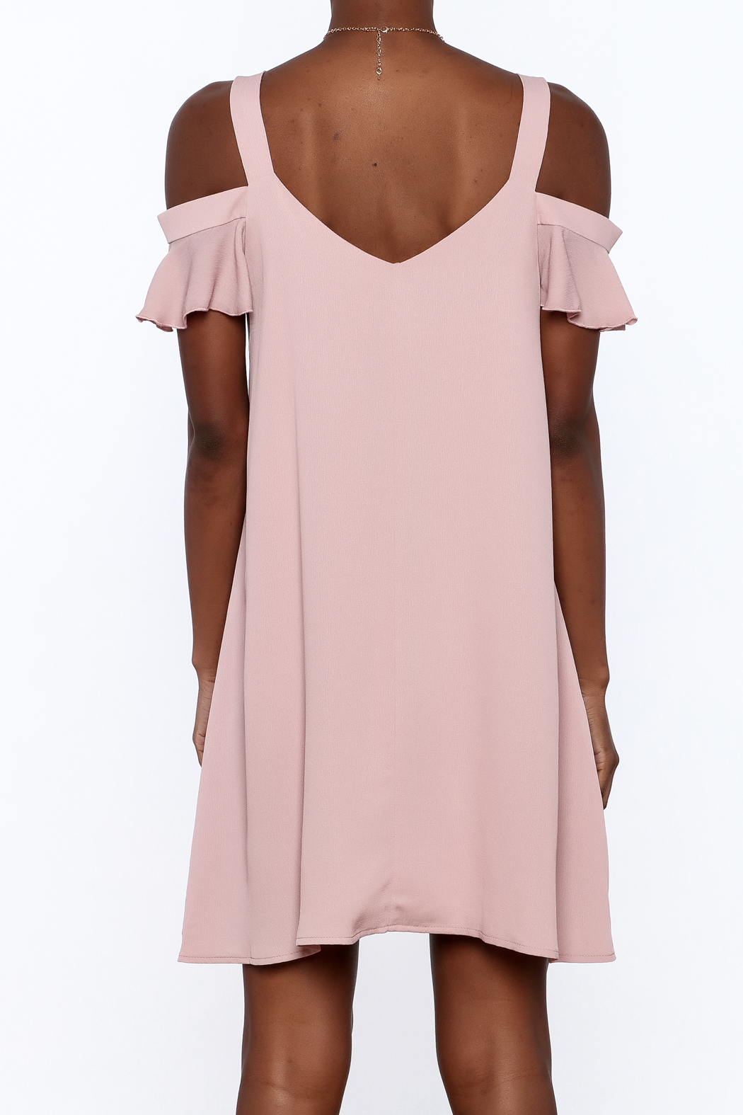 Peppermint Mauve Shift Dress - Back Cropped Image