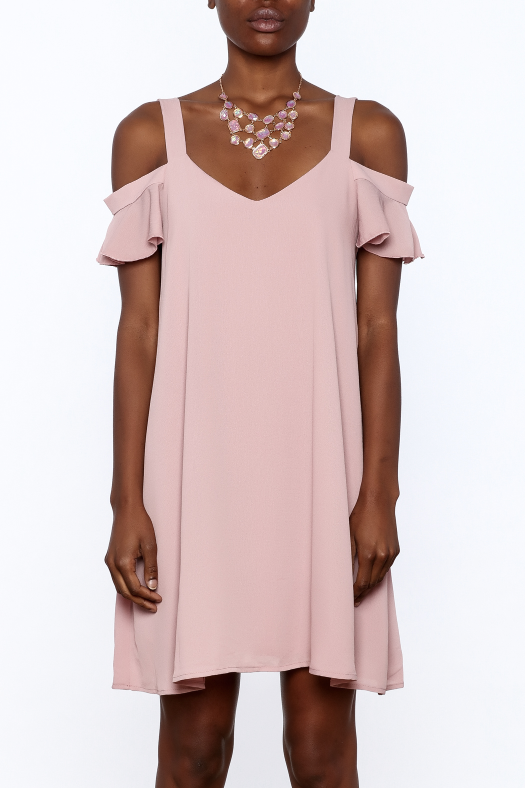 Peppermint Mauve Shift Dress - Side Cropped Image