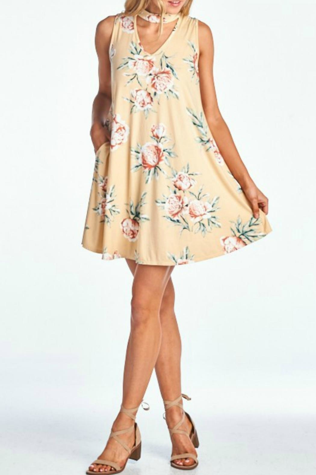 Peppermint Floral Choker Dress - Front Full Image