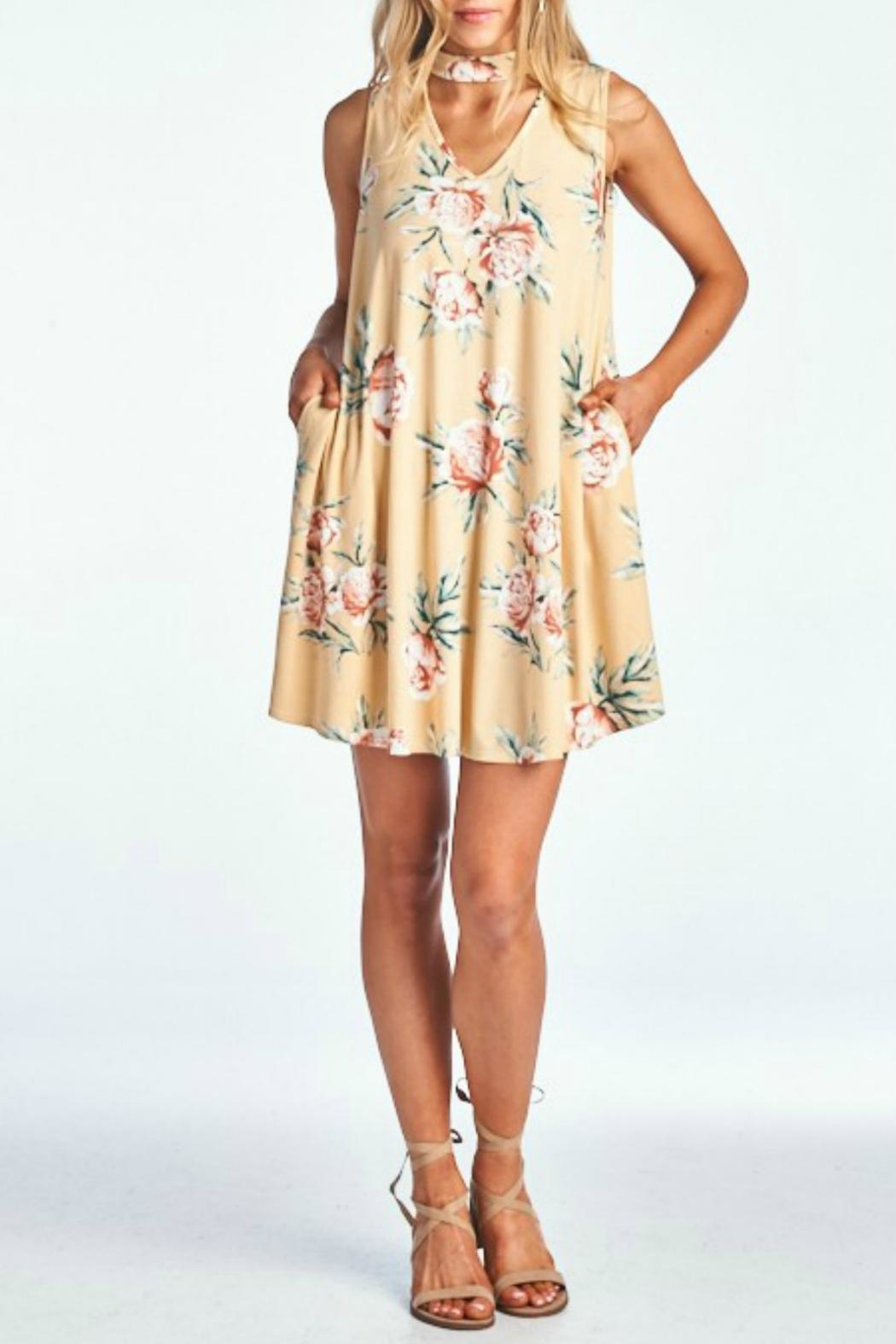 Peppermint Floral Choker Dress - Side Cropped Image