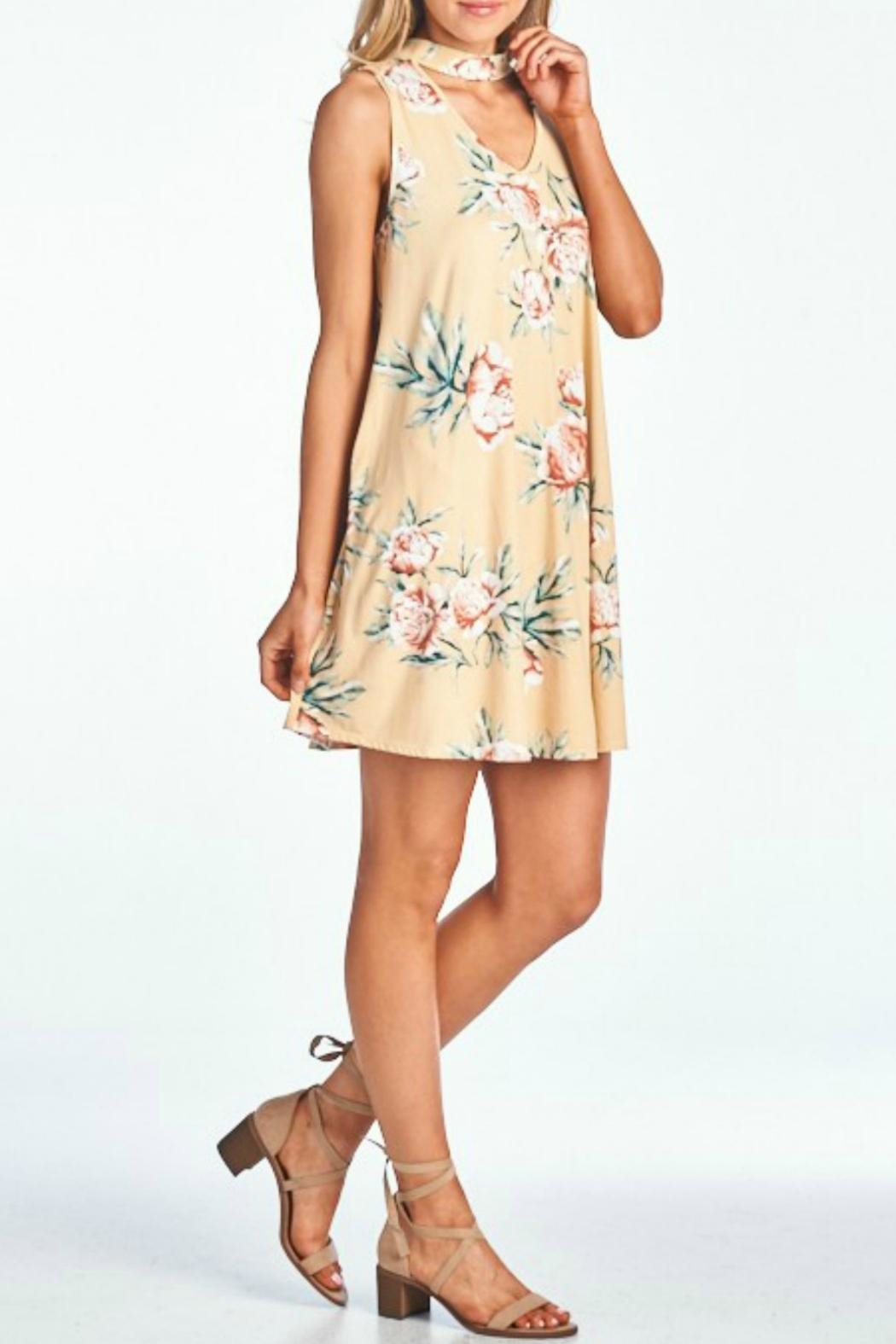 Peppermint Floral Choker Dress - Back Cropped Image