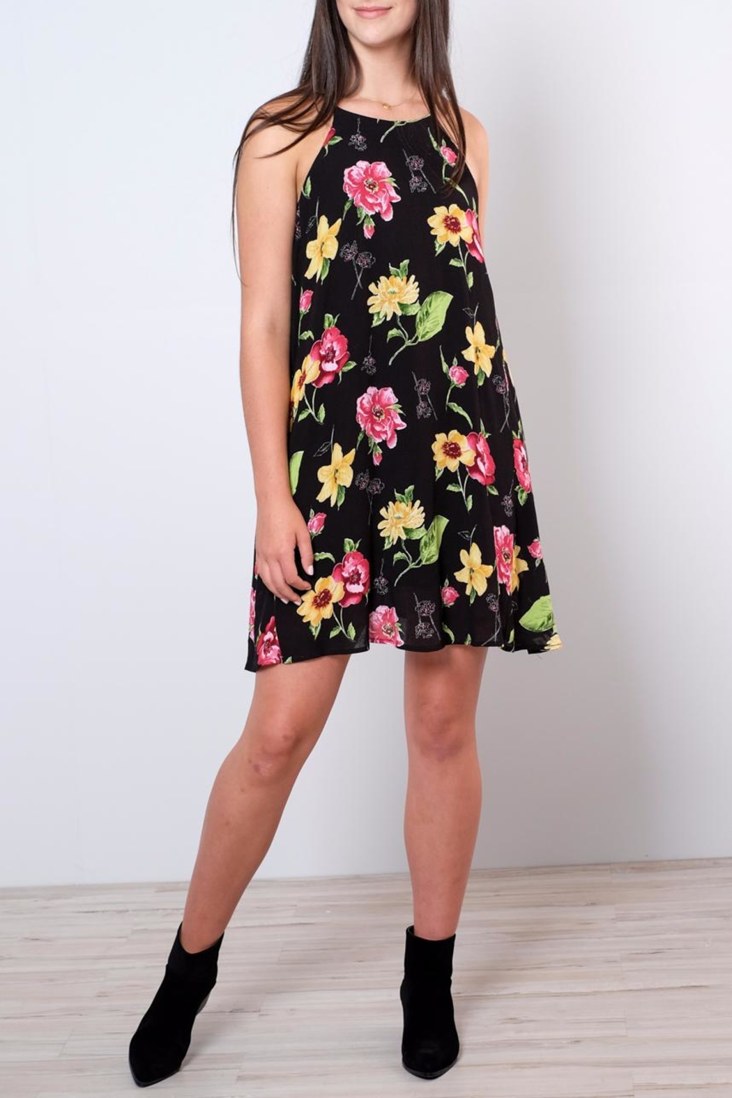 Peppermint Floral Halter Neck Dress - Front Cropped Image