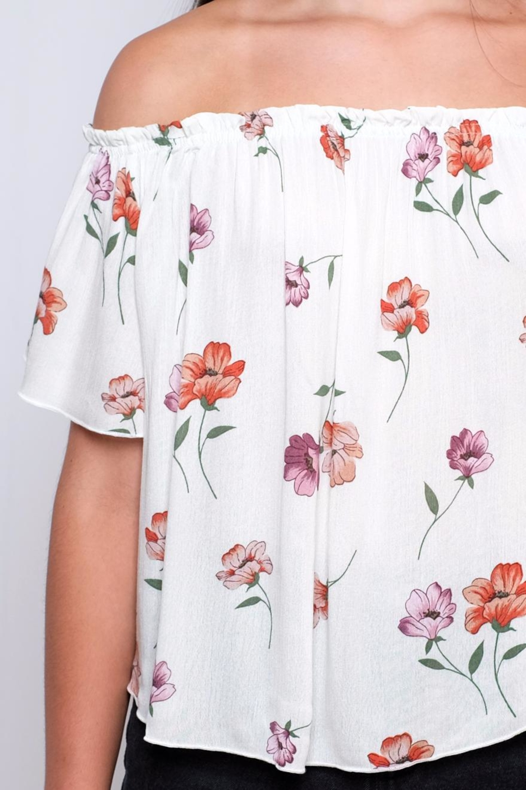 Peppermint Floral Off-Shoulder Top - Back Cropped Image