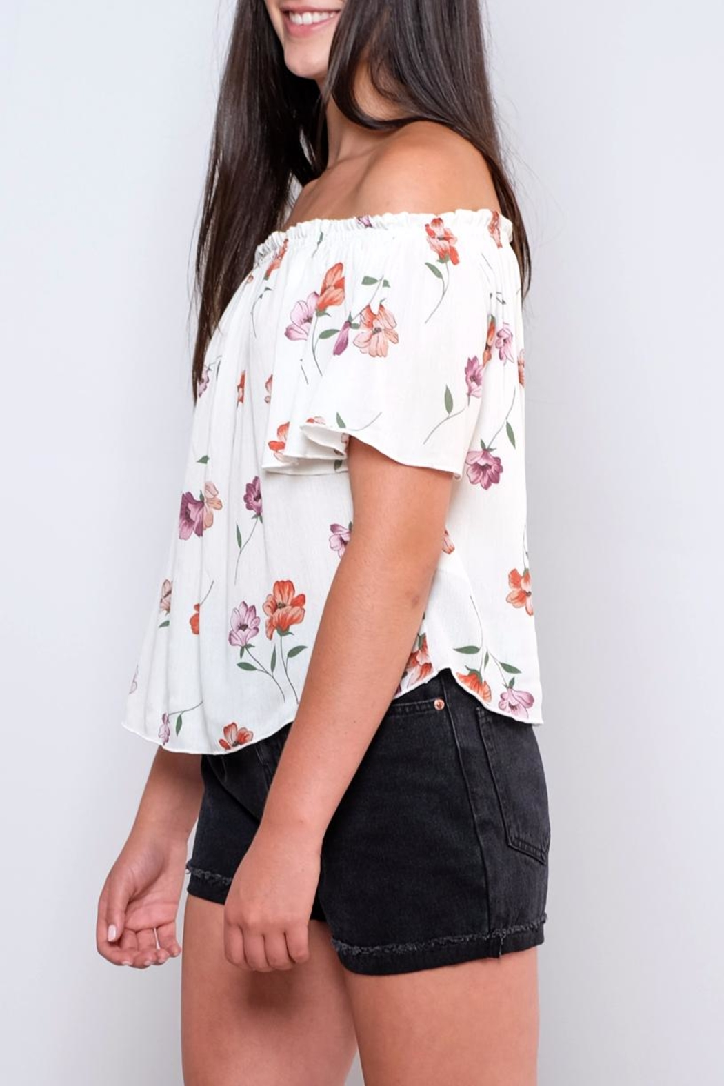 Peppermint Floral Off-Shoulder Top - Front Full Image
