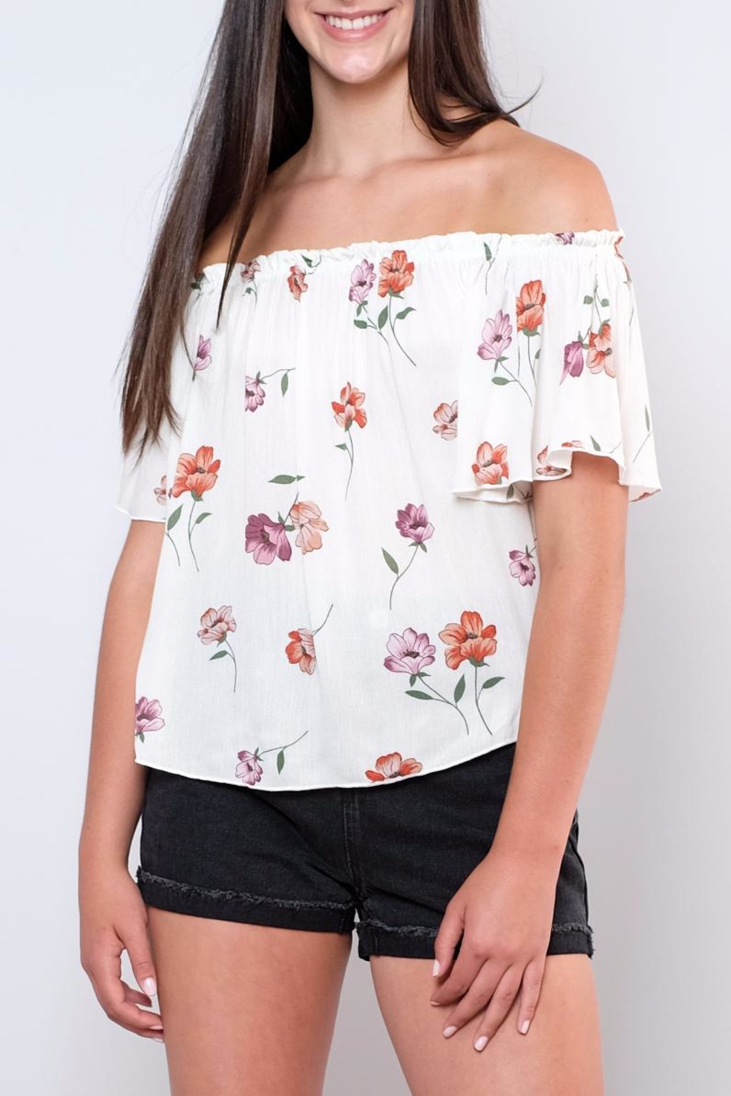Peppermint Floral Off-Shoulder Top - Main Image