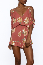 Peppermint Rust Floral Printed Romper - Product Mini Image