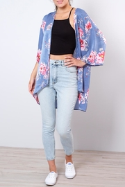 Peppermint Floral Satin Kimono - Product Mini Image