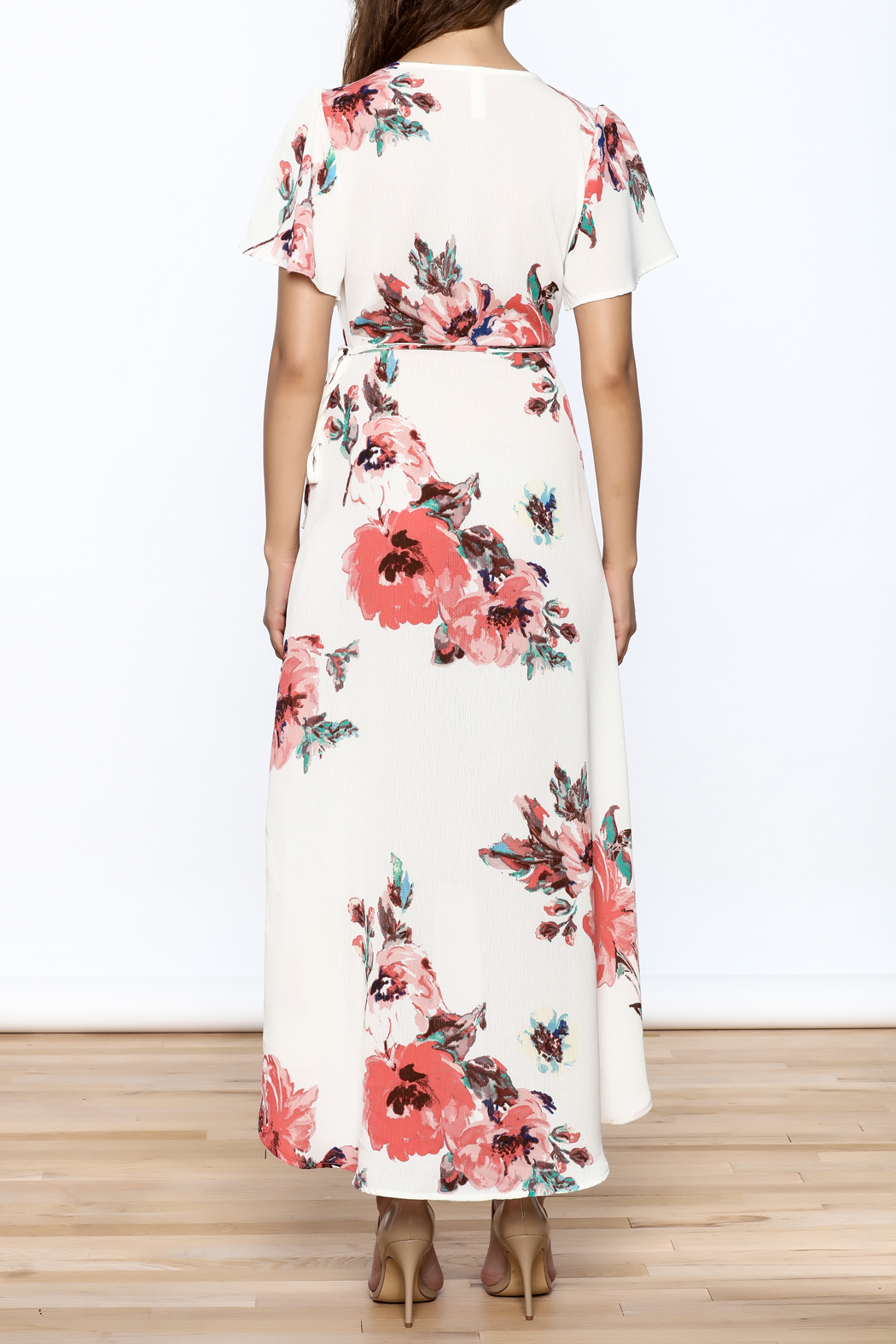 Peppermint Floral Wrap Dress - Back Cropped Image