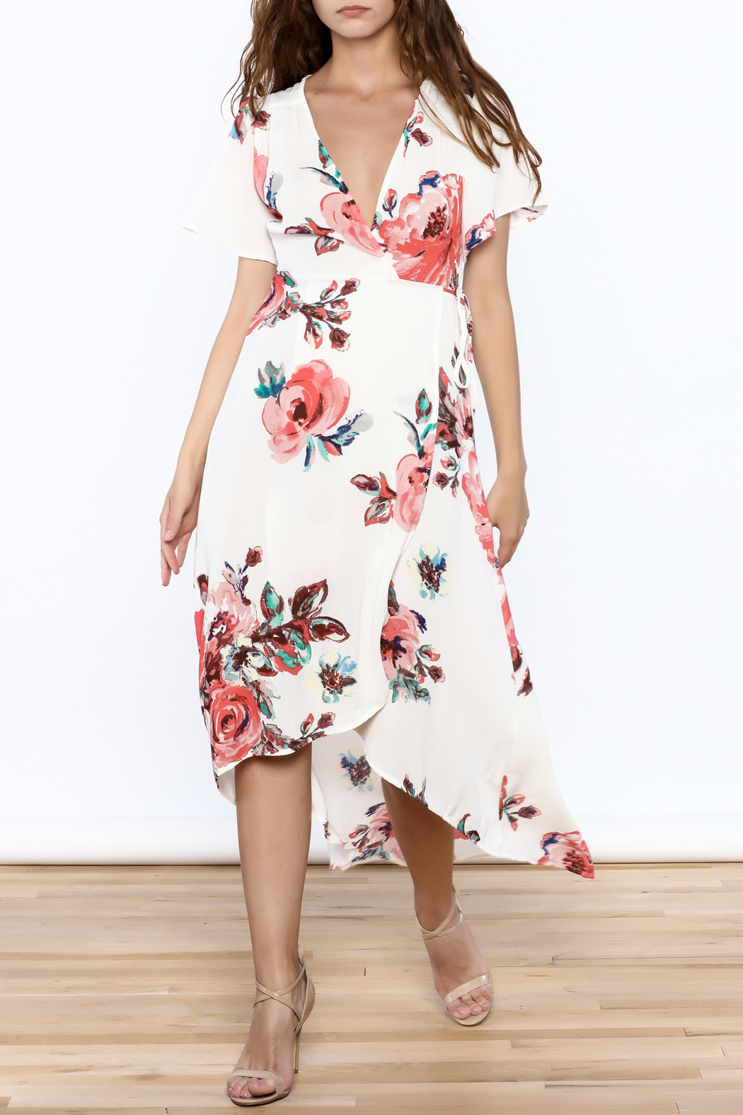Peppermint Floral Wrap Dress - Main Image