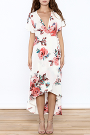 Peppermint Floral Wrap Dress - Front full body