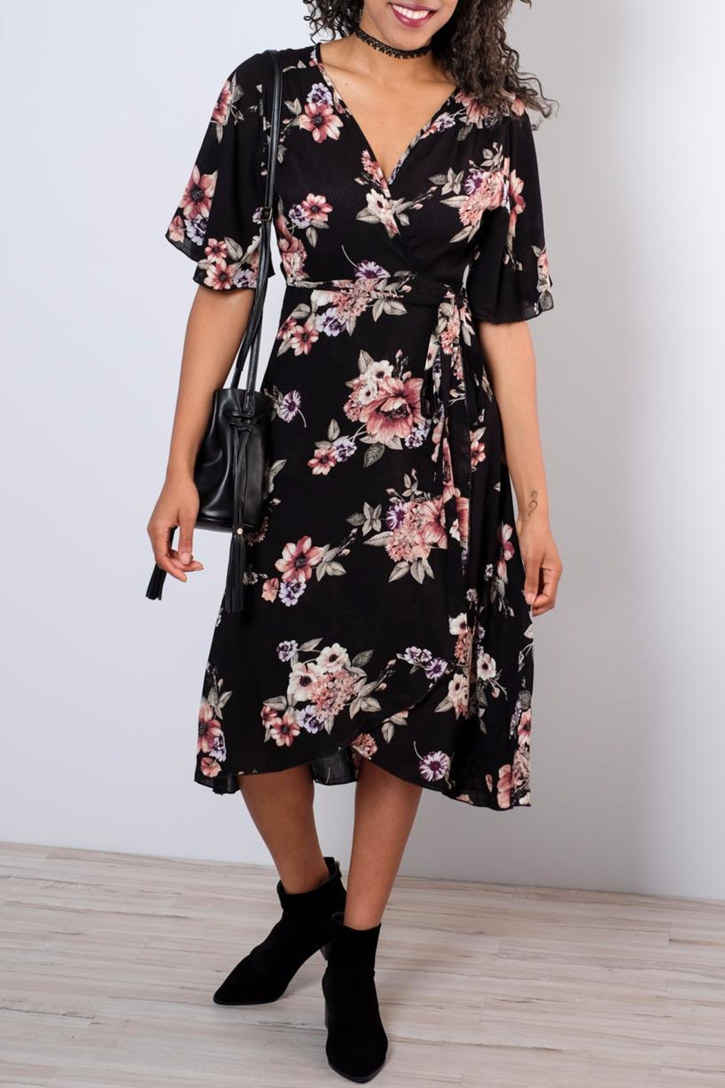 Peppermint Floral Wrap Dress - Front Cropped Image