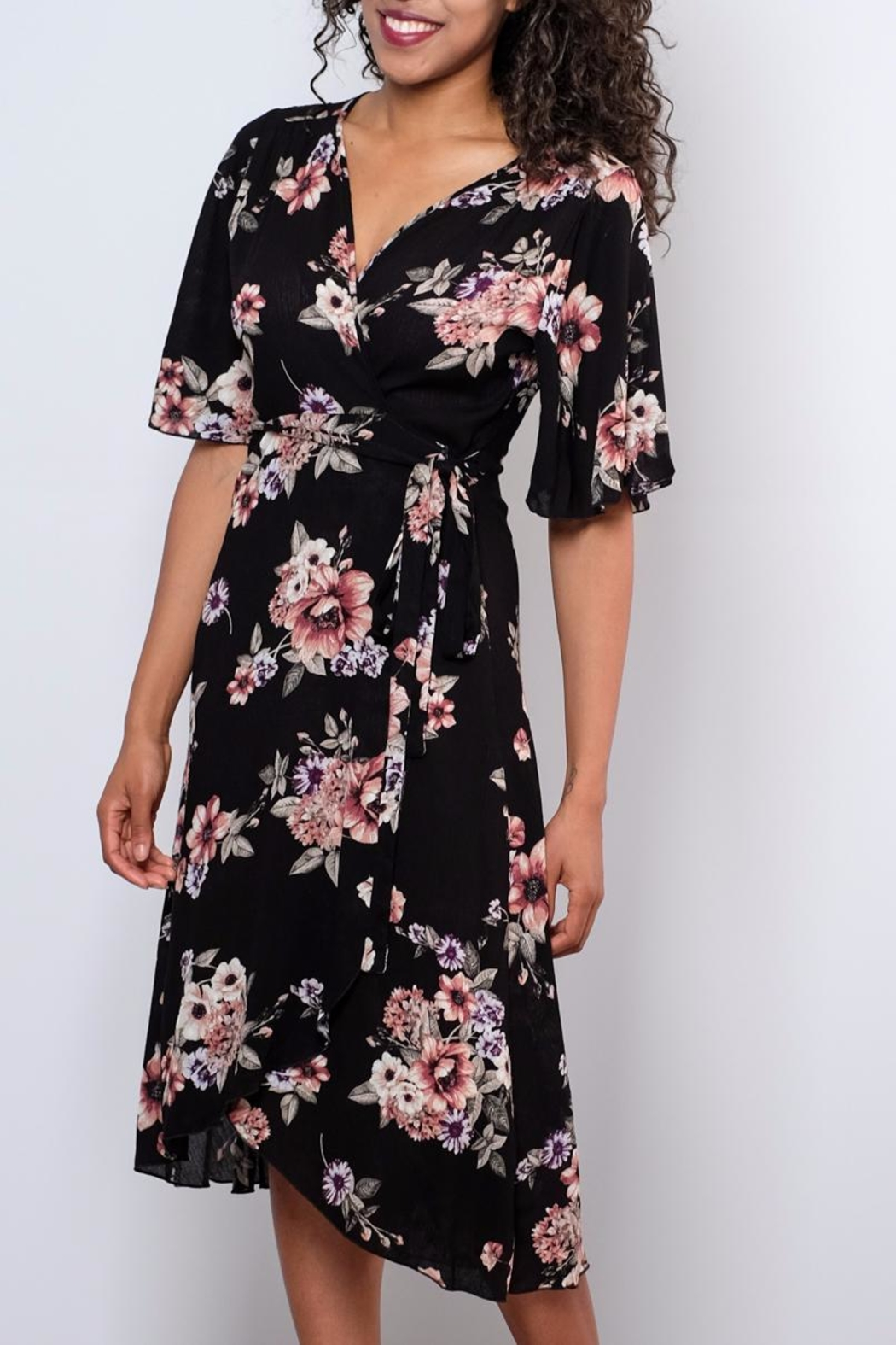 Peppermint Floral Wrap Dress - Side Cropped Image
