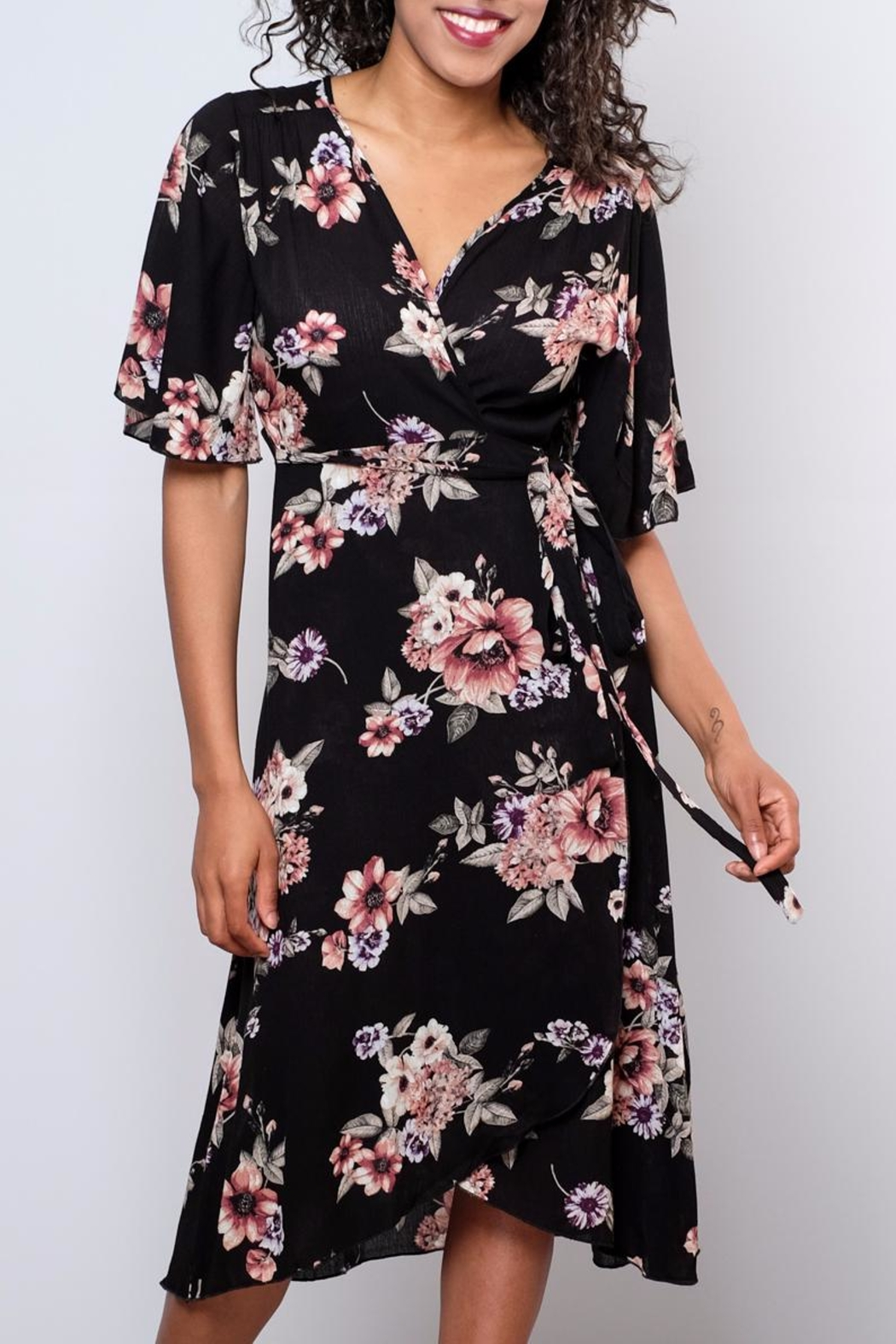 Peppermint Floral Wrap Dress - Front Full Image