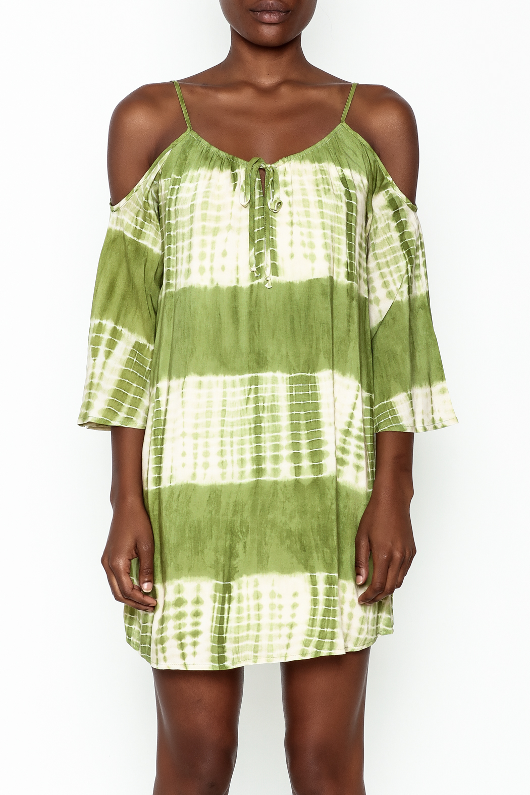 Peppermint Olive Tie Dye Dress - Front Full Image