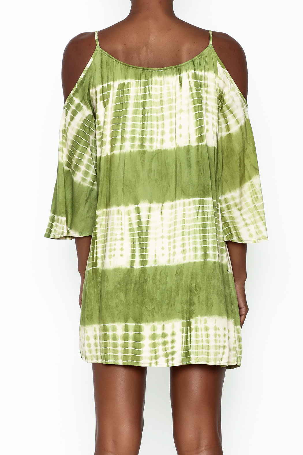 Peppermint Olive Tie Dye Dress - Back Cropped Image