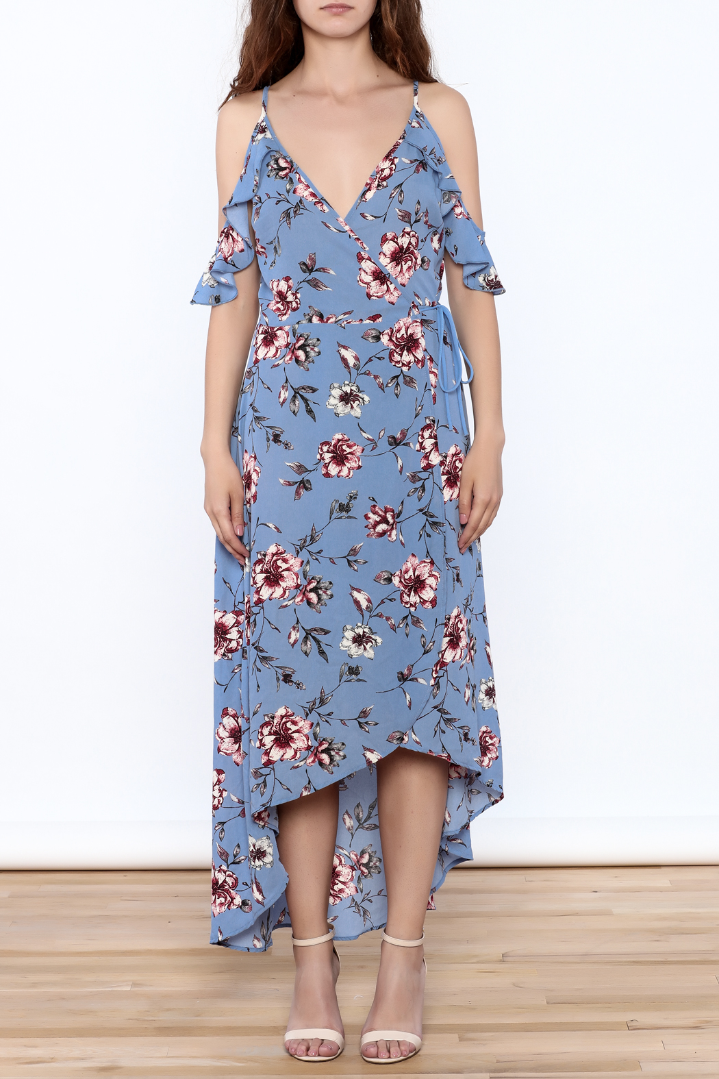 Peppermint Periwinkle Wrap Dress - Front Cropped Image
