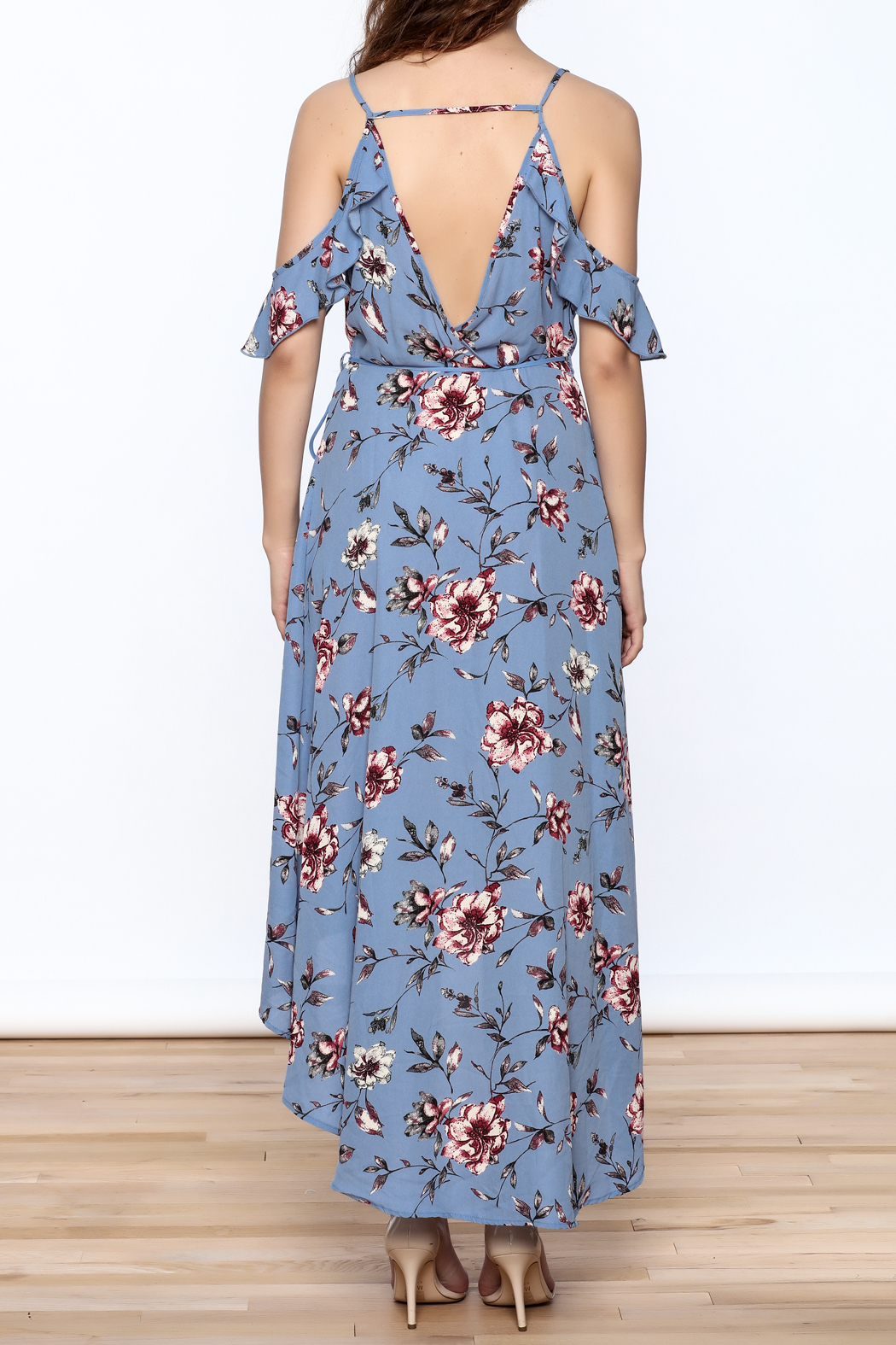 Peppermint Periwinkle Wrap Dress - Back Cropped Image
