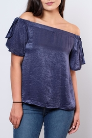 Peppermint Satin Off Shoulder Top - Product Mini Image