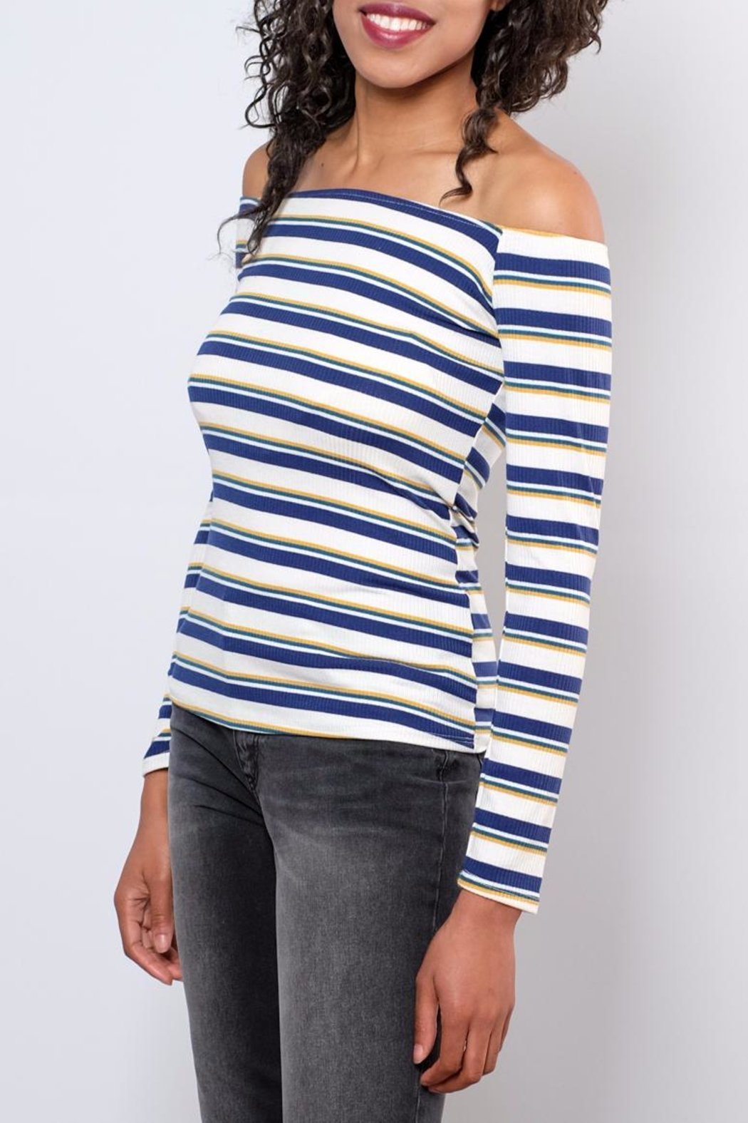 Peppermint Striped Off Shoulder Top - Front Full Image
