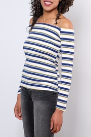 Peppermint Striped Off Shoulder Top - Front full body