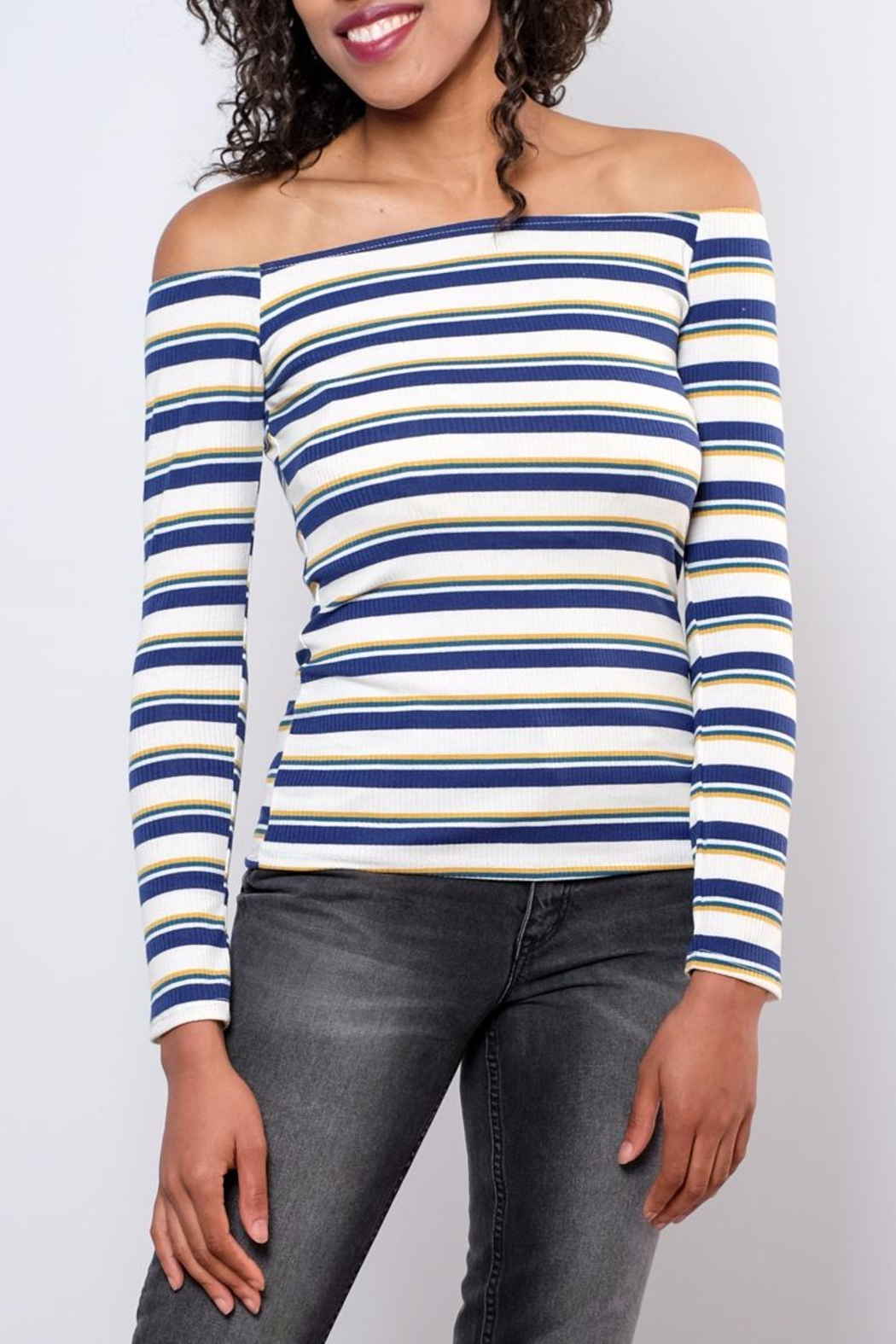 Peppermint Striped Off Shoulder Top - Main Image
