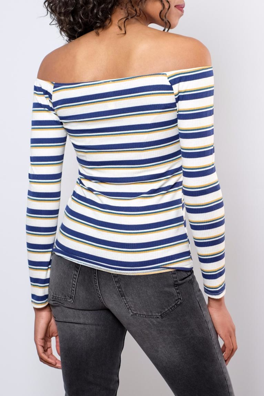 Peppermint Striped Off Shoulder Top - Side Cropped Image