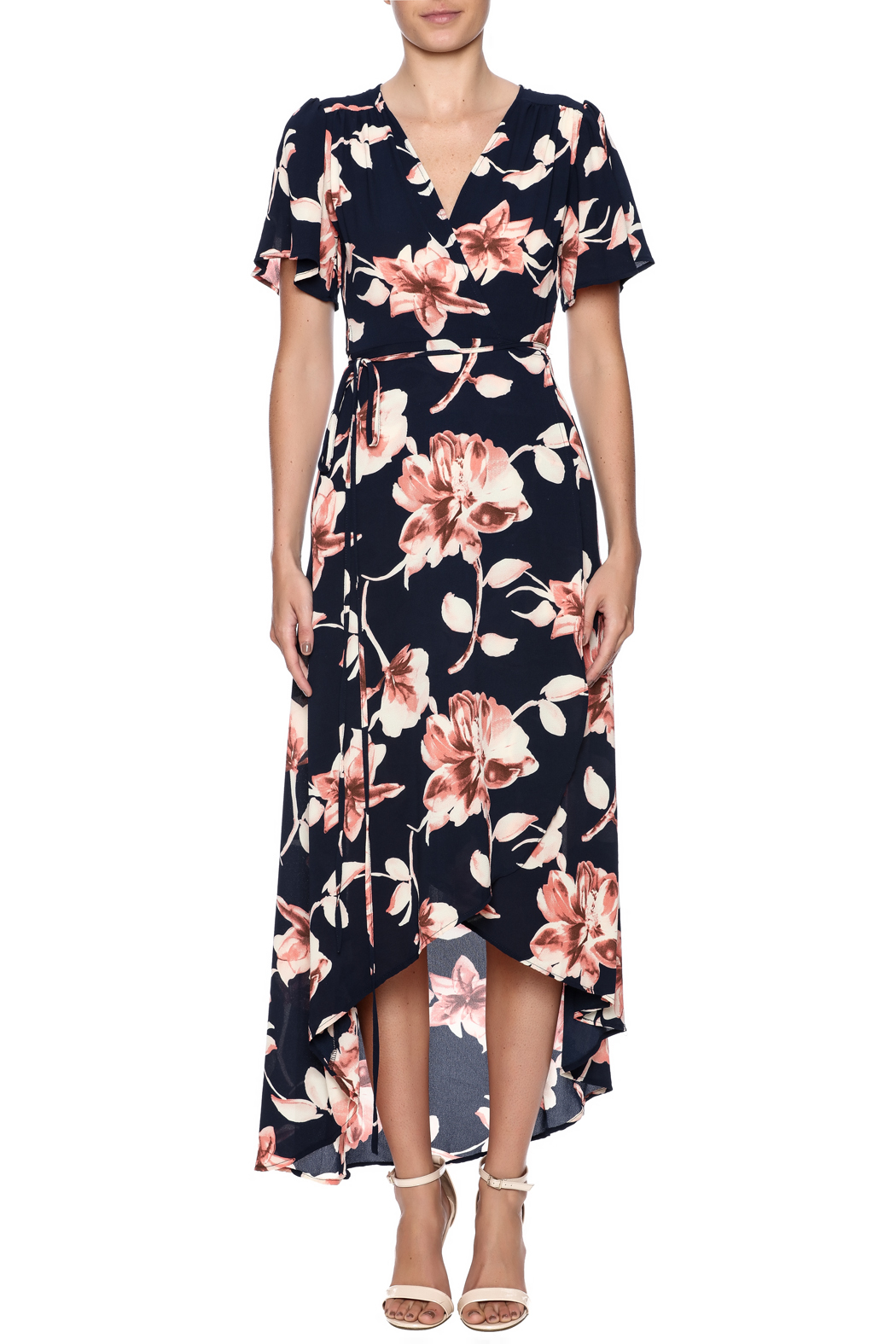 66111df6e8ab Peppermint Navy Floral Wrap Dress from New York by Dor L Dor ...