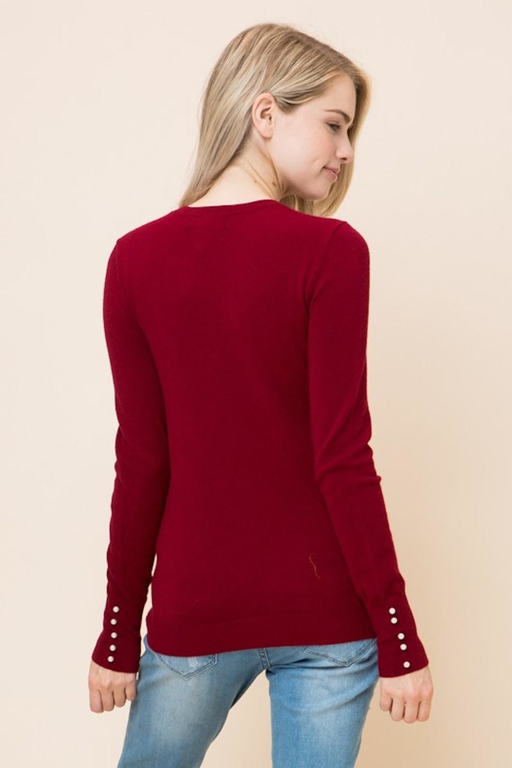 Love Tree Peral Sleeve Sweater - Back Cropped Image