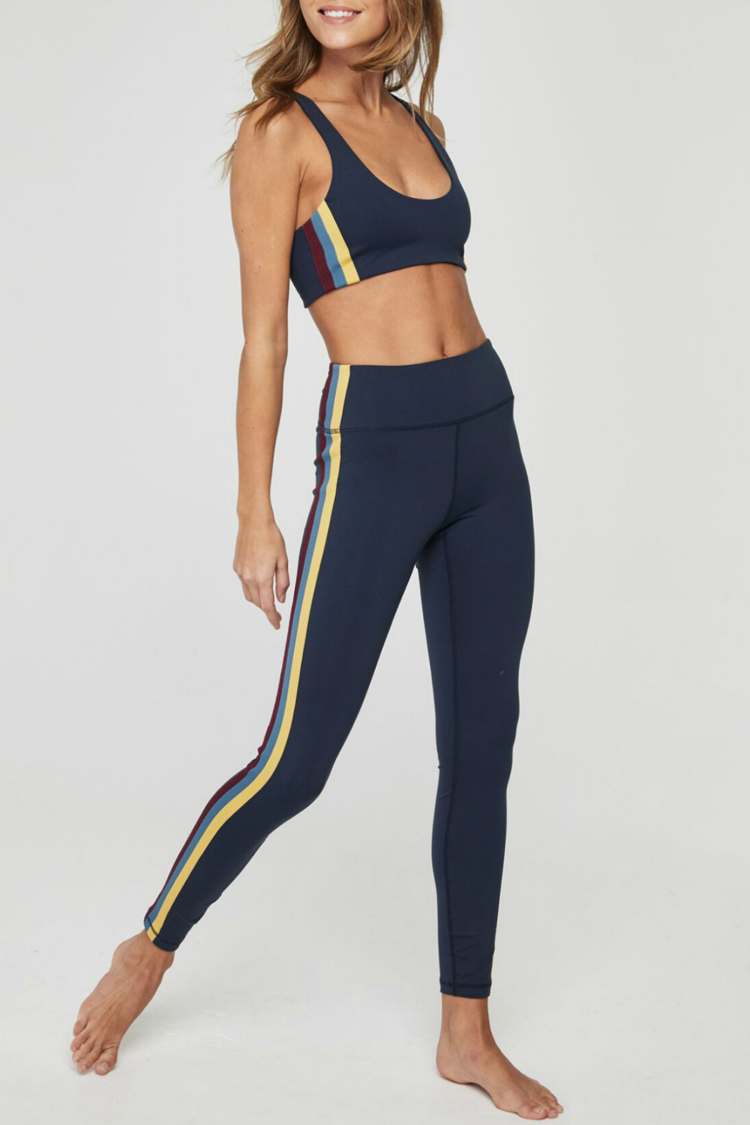 SPIRITUAL GANGSTER Perfect High Waist Side Stripe Legging - Back Cropped Image