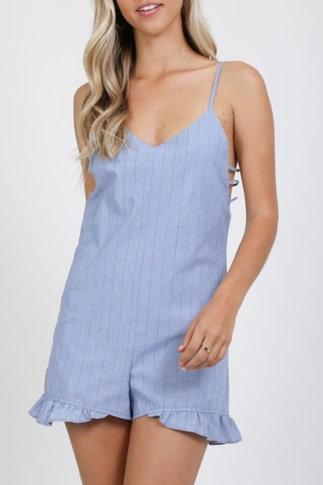 Very J  Perfect Pinstripe romper - Front Cropped Image