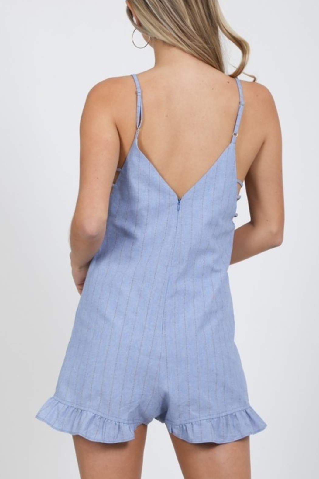 Very J  Perfect Pinstripe romper - Side Cropped Image