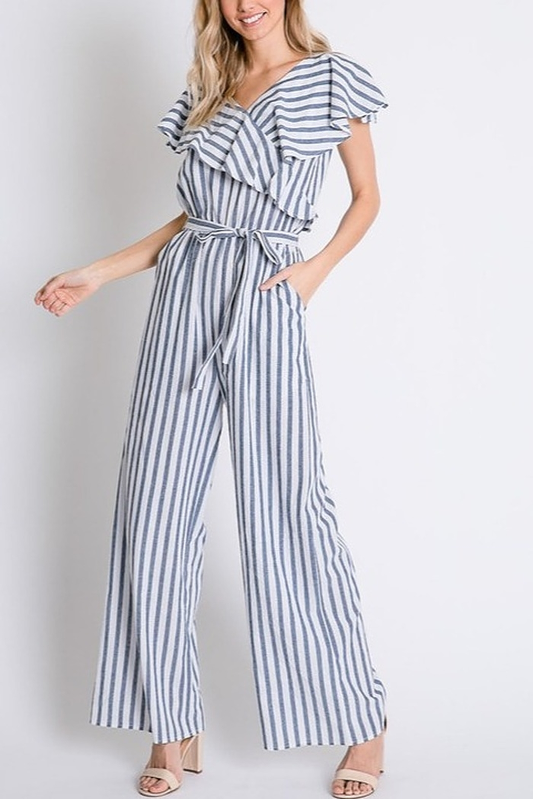 Lyn-Maree's  Perfect Stripe Jumpsuit - Main Image