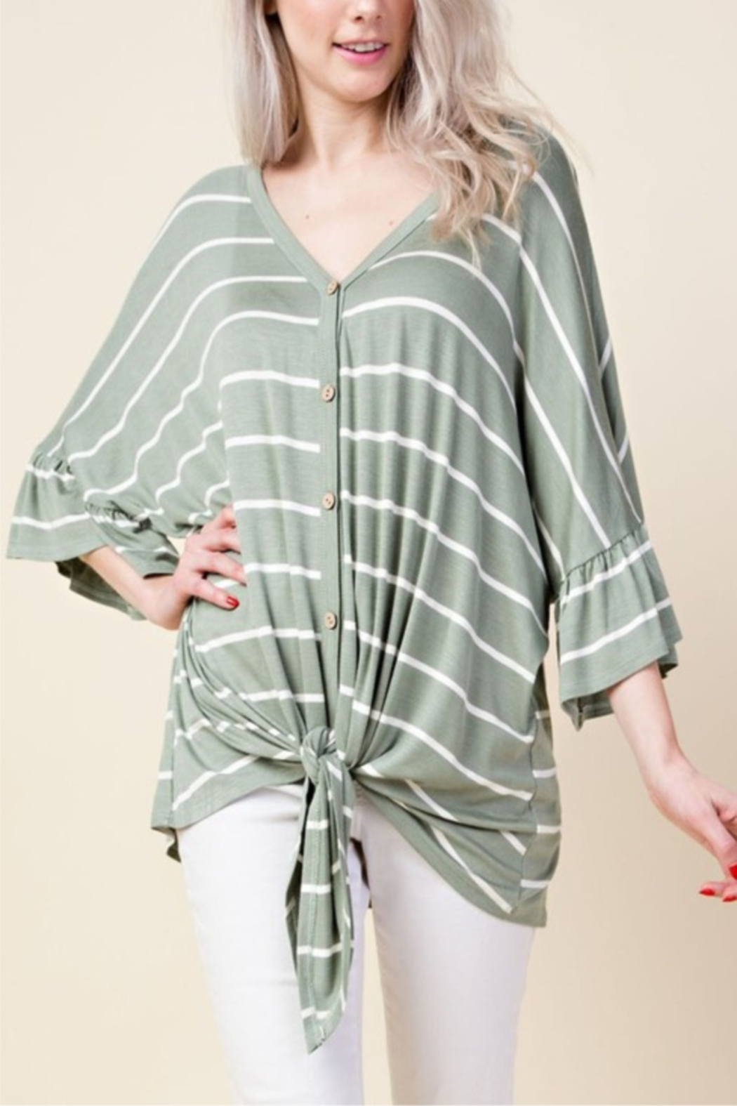 Lovely J Perfect Stripe Knot Top - Main Image