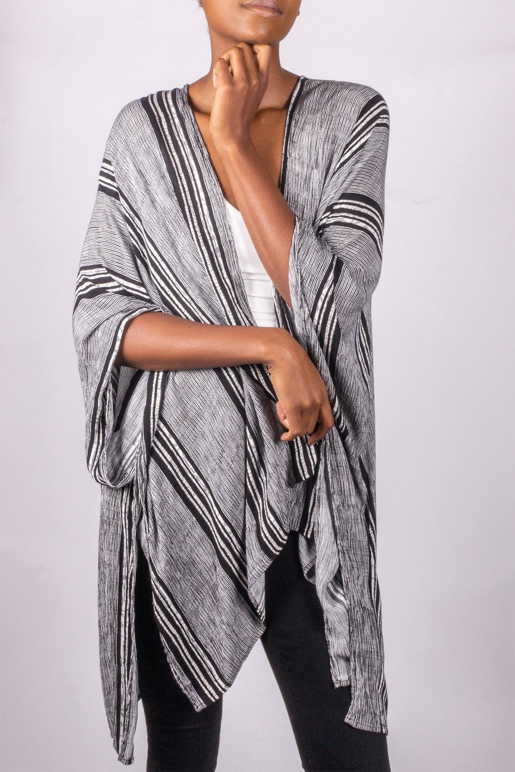 Love Tree Perfect Striped Kimono - Front Cropped Image