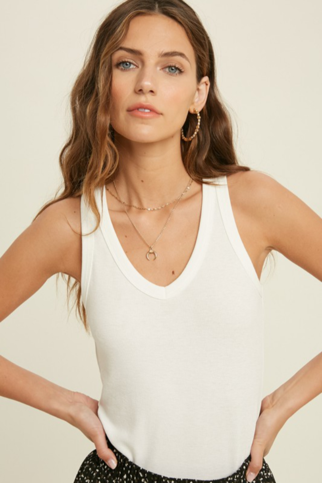 Wishlist Perfect Vneck Tank - Front Cropped Image