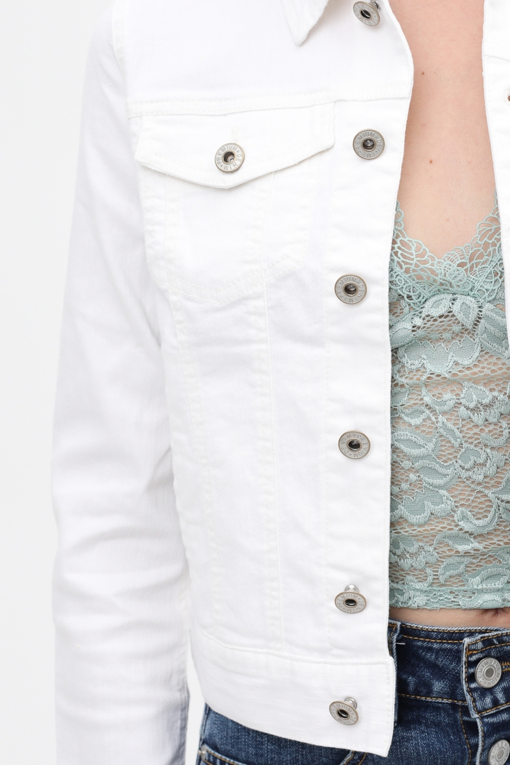 Lyn -Maree's Perfect White Denim Jacket - Main Image