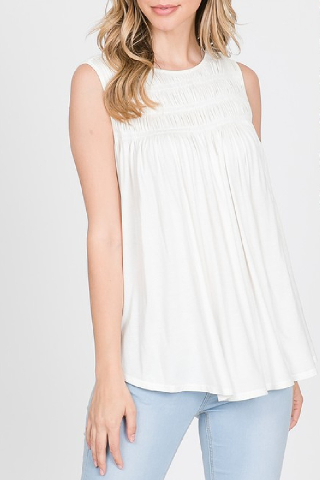 Allie Rose Perfectly Smocked Tank - Front Cropped Image