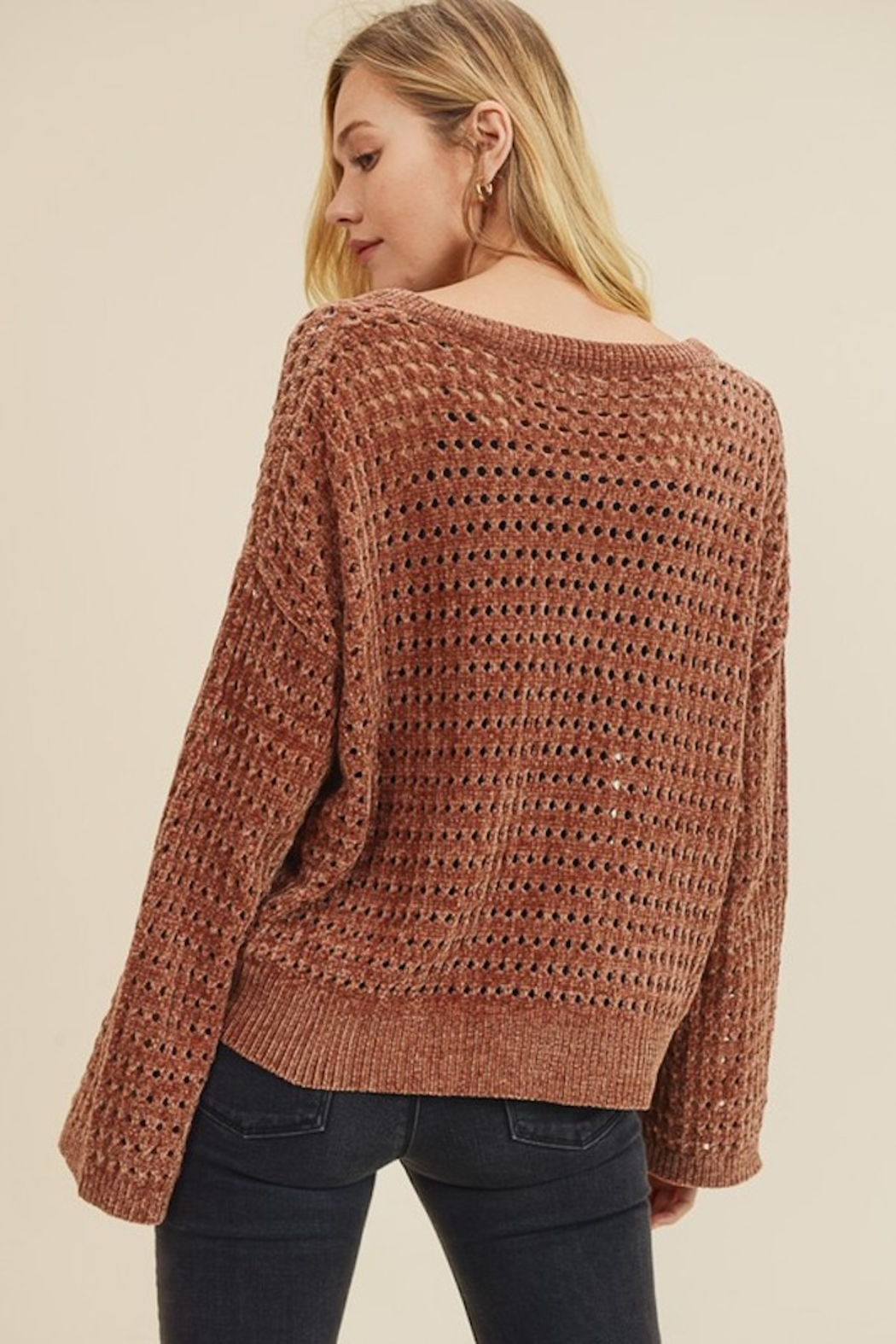 In Loom PERFORATED CHENILLE SWEATER - Front Full Image