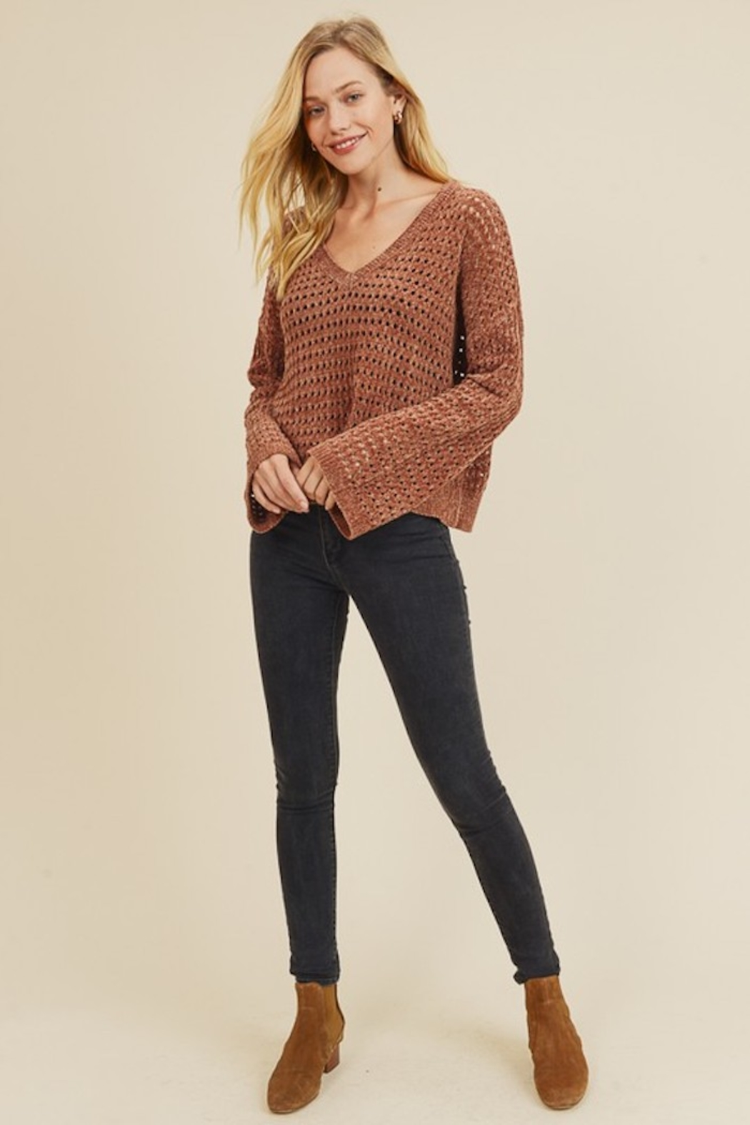 In Loom PERFORATED CHENILLE SWEATER - Back Cropped Image