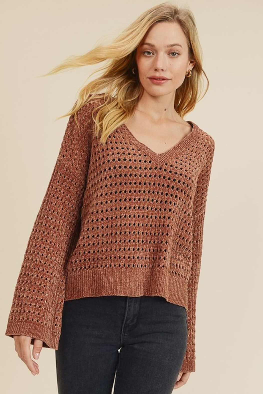 In Loom PERFORATED CHENILLE SWEATER - Main Image