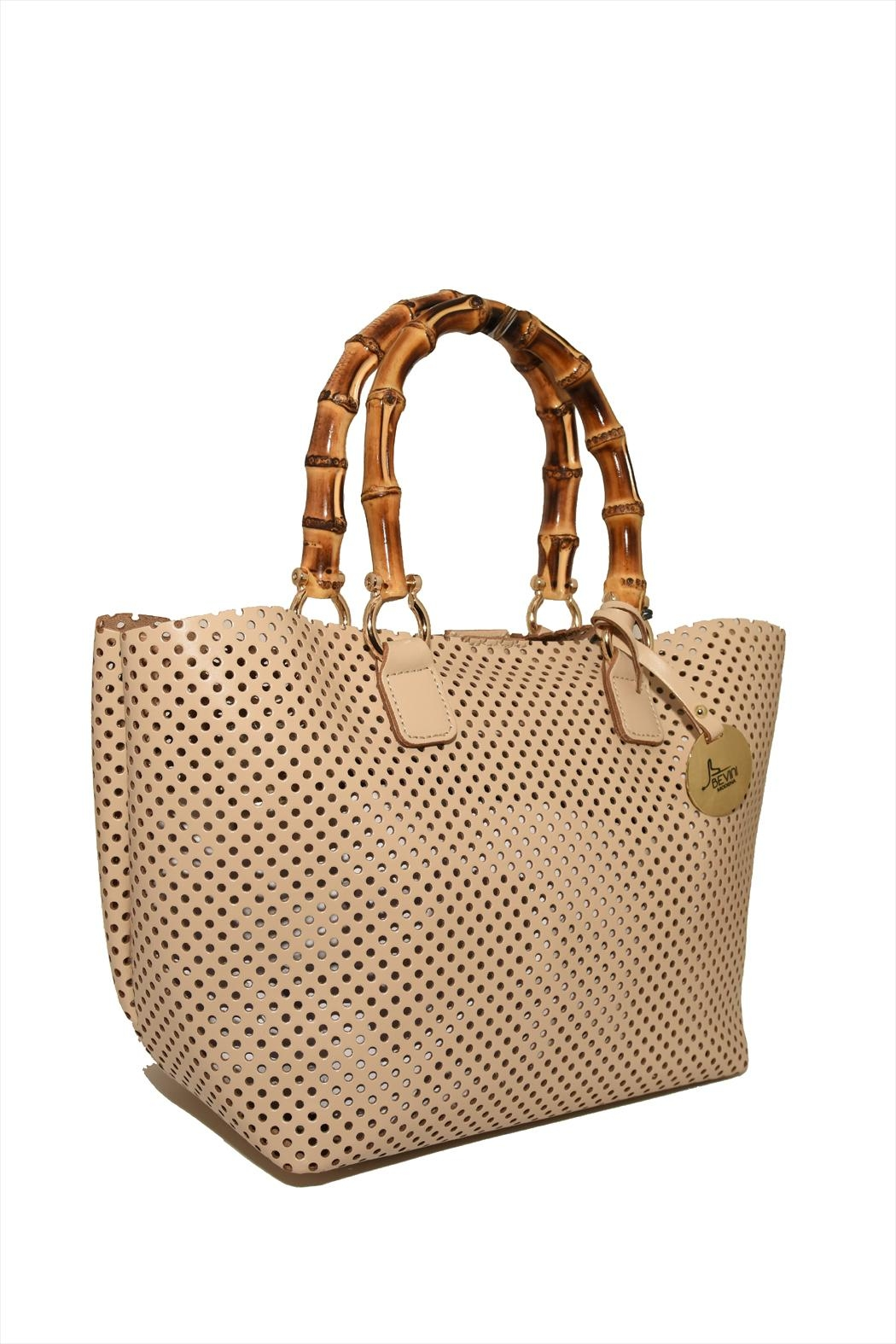 Bevini Modena Perforated Leather Tote - Front Full Image