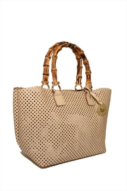 Bevini Modena Perforated Leather Tote - Front full body