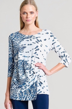 Clara Sunwoo Periwinkle Animal Print Twist Front Hem Tunic - Navy - Alternate List Image