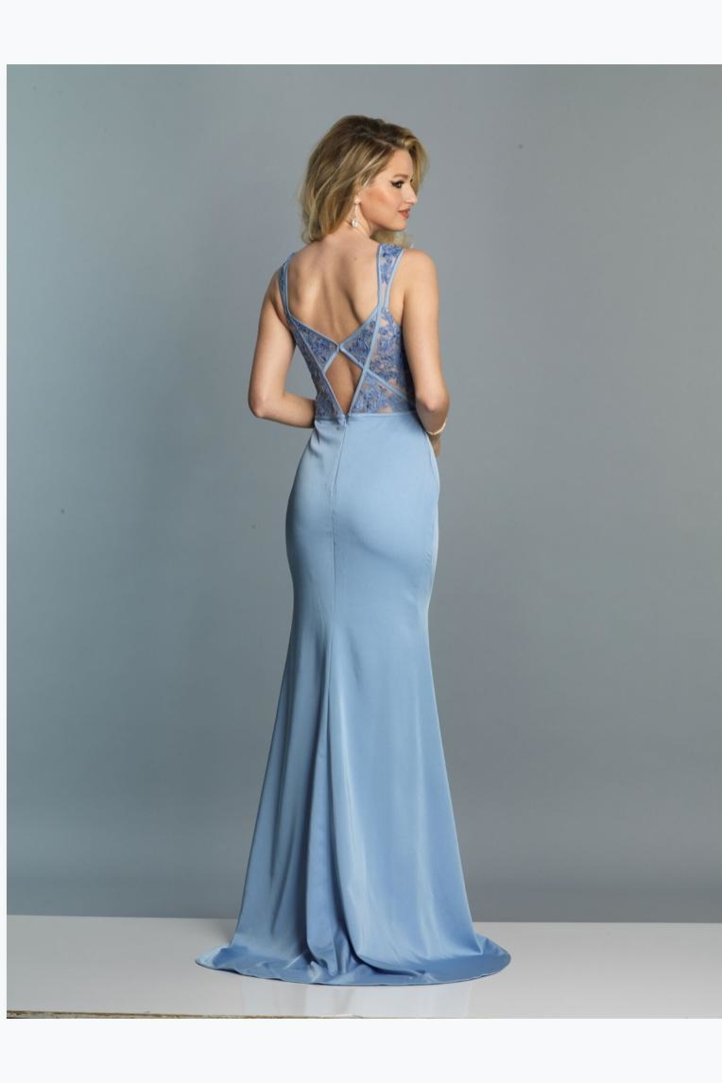 Dave and Johnny Periwinkle Lace Gown - Front Full Image