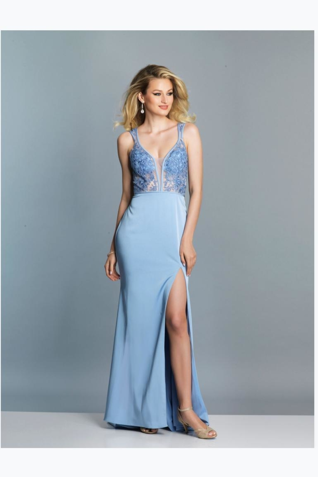 Dave and Johnny Periwinkle Lace Gown - Main Image