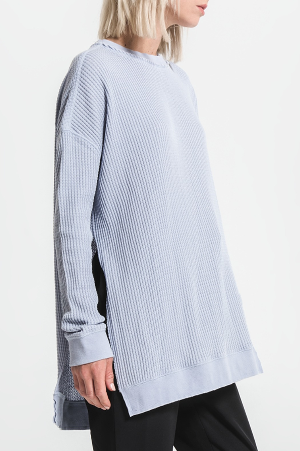 Others Follow  Periwinkle Long Sleeve Thermal Top - Side Cropped Image