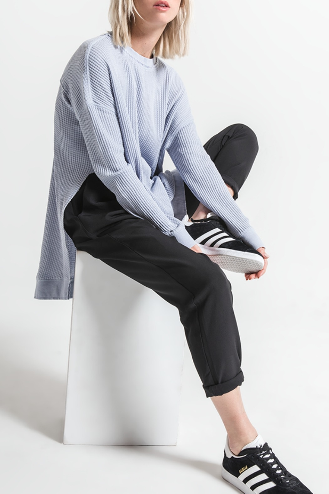 Others Follow  Periwinkle Long Sleeve Thermal Top - Back Cropped Image
